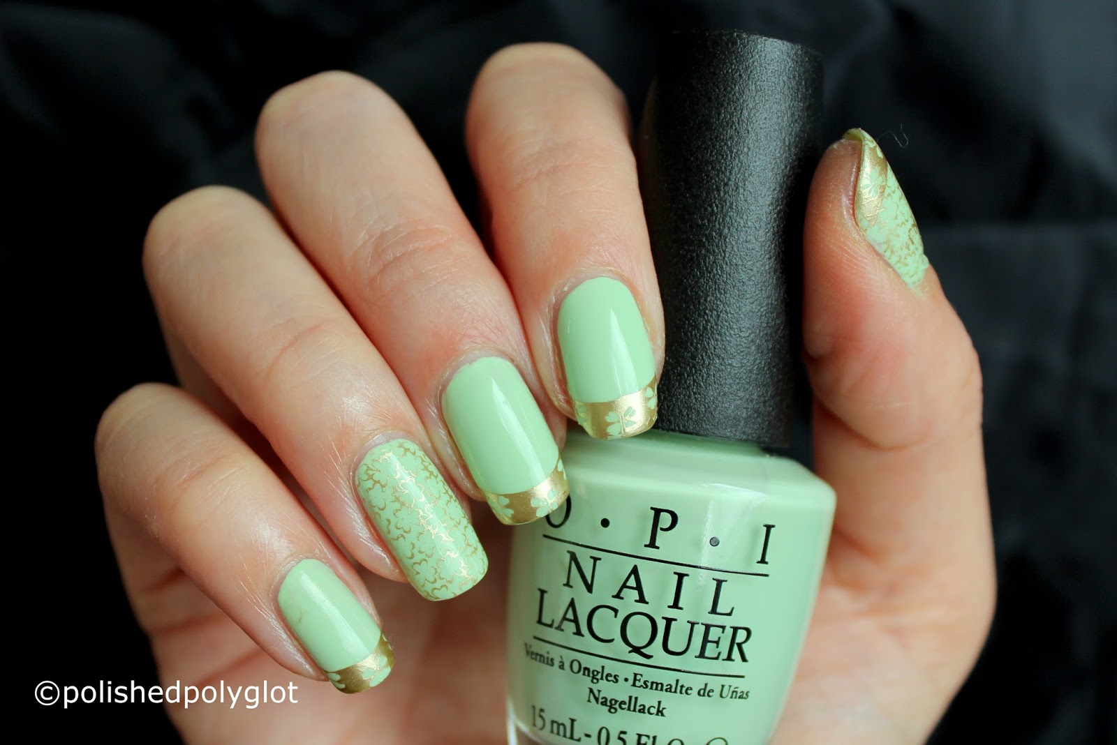 Nail Art French Manicure In Green And Gold 26gnai Polished