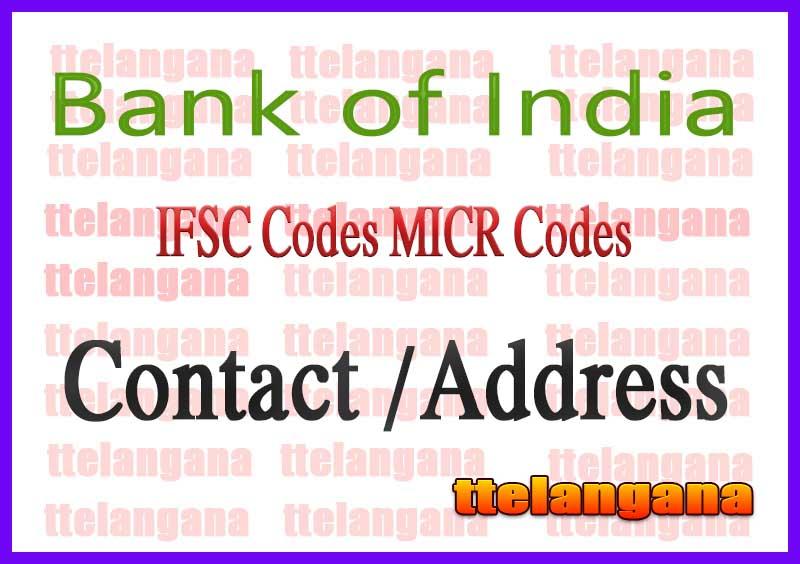 Bank of India IFSC Codes MICR Codes in Bhubaneshwar City