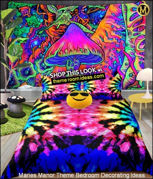 Psychedelic Bedding MAGIC MUSHROOM BEDROOM IDEAS Psychedelic Mushroom Tapestry TRIPPY BEDROOM DECOR