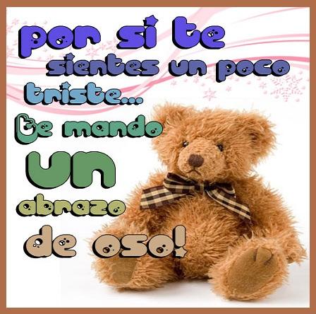 frase bonita con abrazo de oso