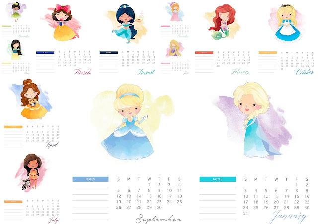 Disney Princess: Free Printable 2021 Calendar.