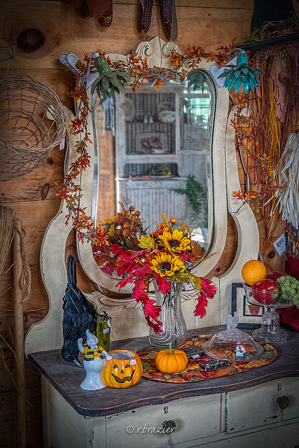 Halloween mirror Fall season decoration leaves sunflower pumpkins orange colors