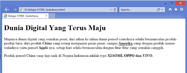 hasil program HTML