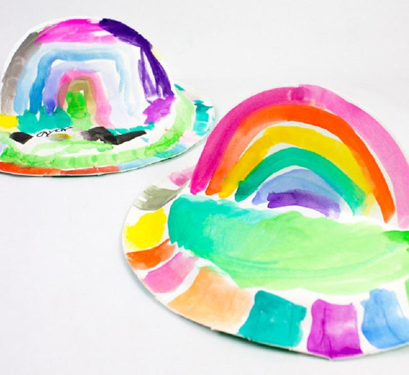pop up paper plate rainbow hat craft