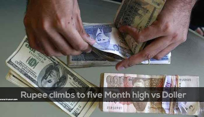 Rupee climbs to five Month high vs Doller