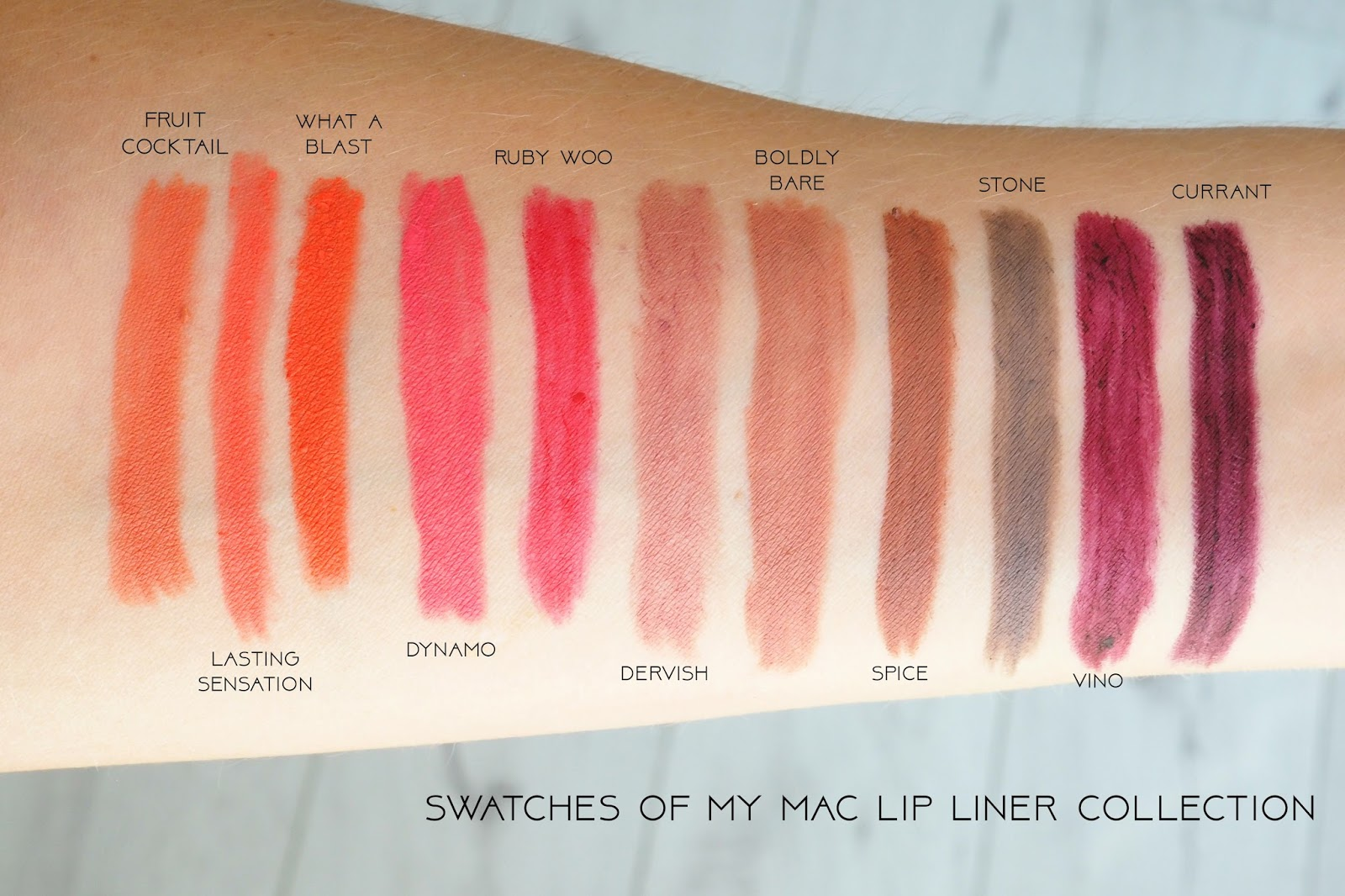 My mac lip liner collection with swatches devoted to pink for Cocktail 9 mac