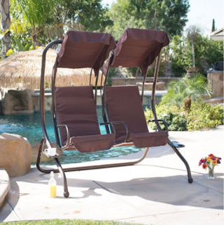 BELLEZZA Outdoor Patio Swing Set 2 Person Armrest Steel Seat Padded With Canopy Brown
