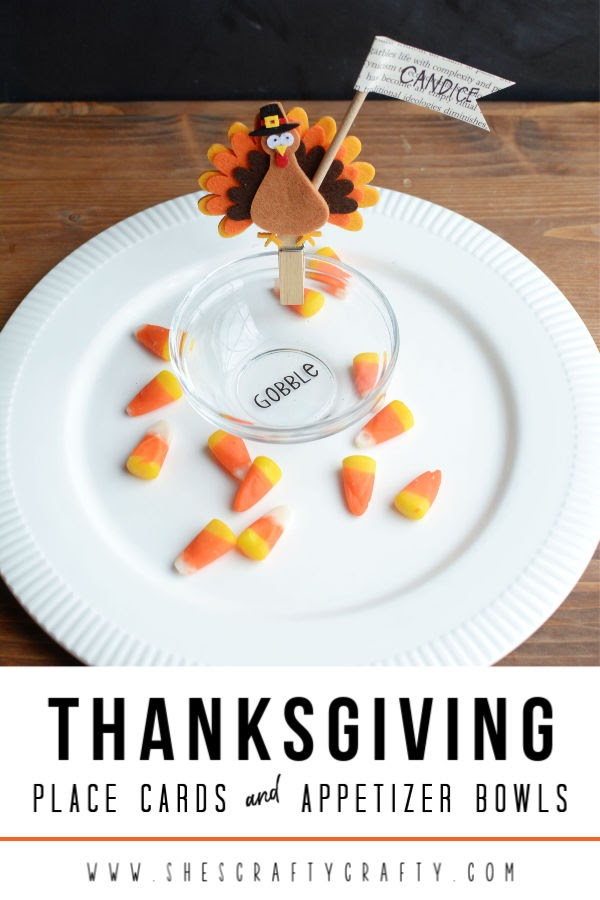 Thanksgiving place cards and appetizer bowls  |   Make these easy appetizer bowls and place cards for your Thanksgiving Dinner Table