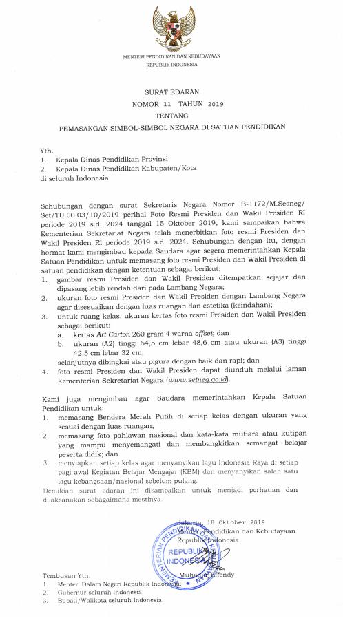 Surat Edaran Mendikbud Nomor 11 Tahun 2019