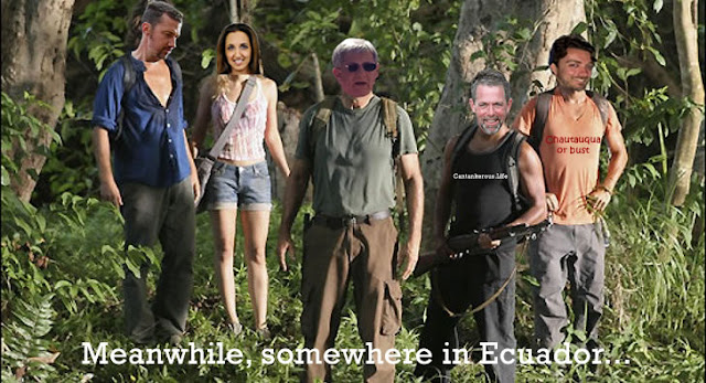 Jim Collins, Mad Fientist, Mr Money Moustache, Paula Pant, and JD Roth in search of Chautauqua in Ecuador
