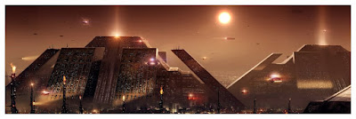 """The Terminator """"Skynet"""" & Blade Runner """"The Pyramid"""" Cityscapes Fine Art Giclee Prints by Pablo Olivera x Bottleneck Gallery"""