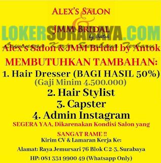 Loker Surabaya Terbaru di Alex's Salon & JMM Bridal Juni 2019