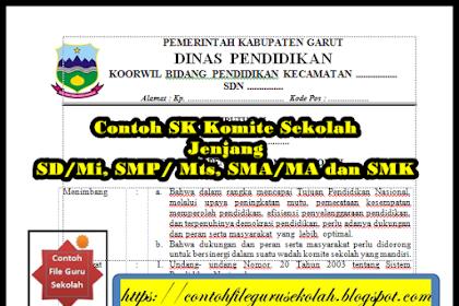 Contoh SK Komite Sekolah untuk Jenjang SD/Mi, SMP/ Mts, SMA/MA dan SMK