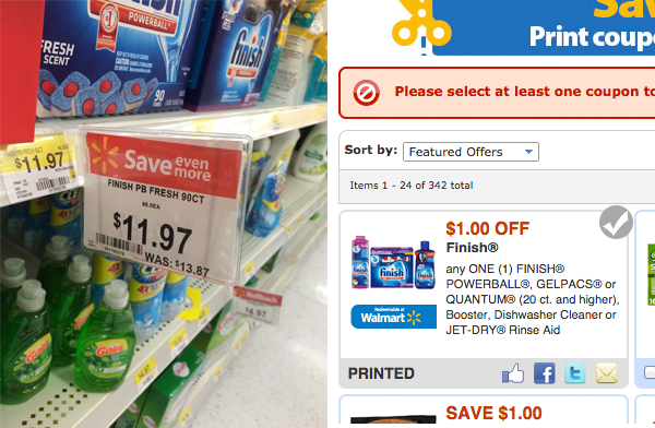 Rollback plus coupon on Finish Detergent #SparklySavings #CollectiveBias #shop
