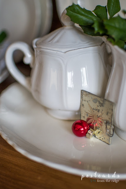old ironstone sugar bowl and mini Christmas ornament