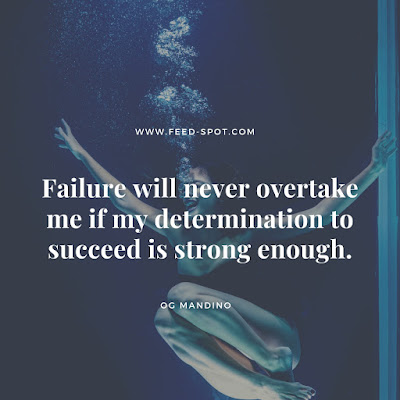 Failure will never overtake me if my determination to succeed is strong enough. __ Og Mandino