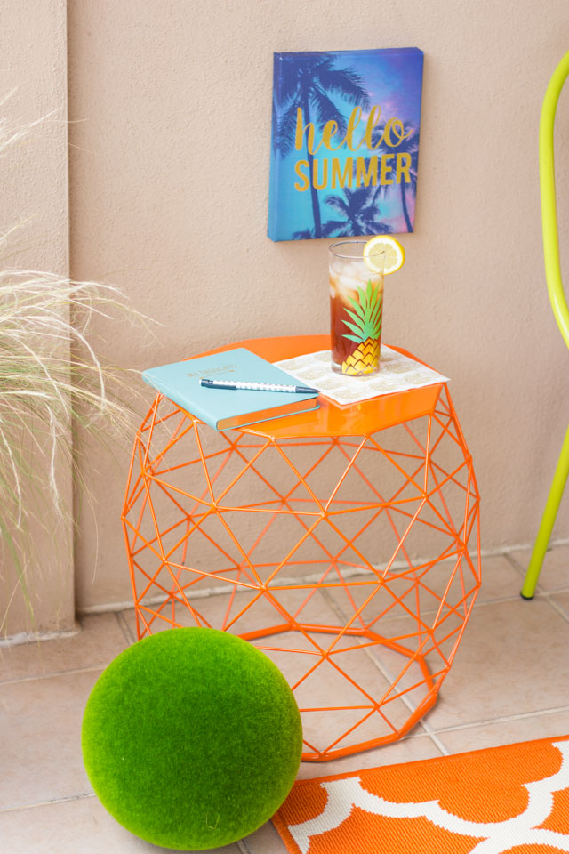 Such a fun orange geometric side table from At Home stores!