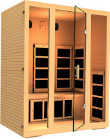 See-through door & front panels made from special safety glass designed to tolerate high temperatures on JNH Lifestyles MG301HCB Joyous 3 Person Sauna