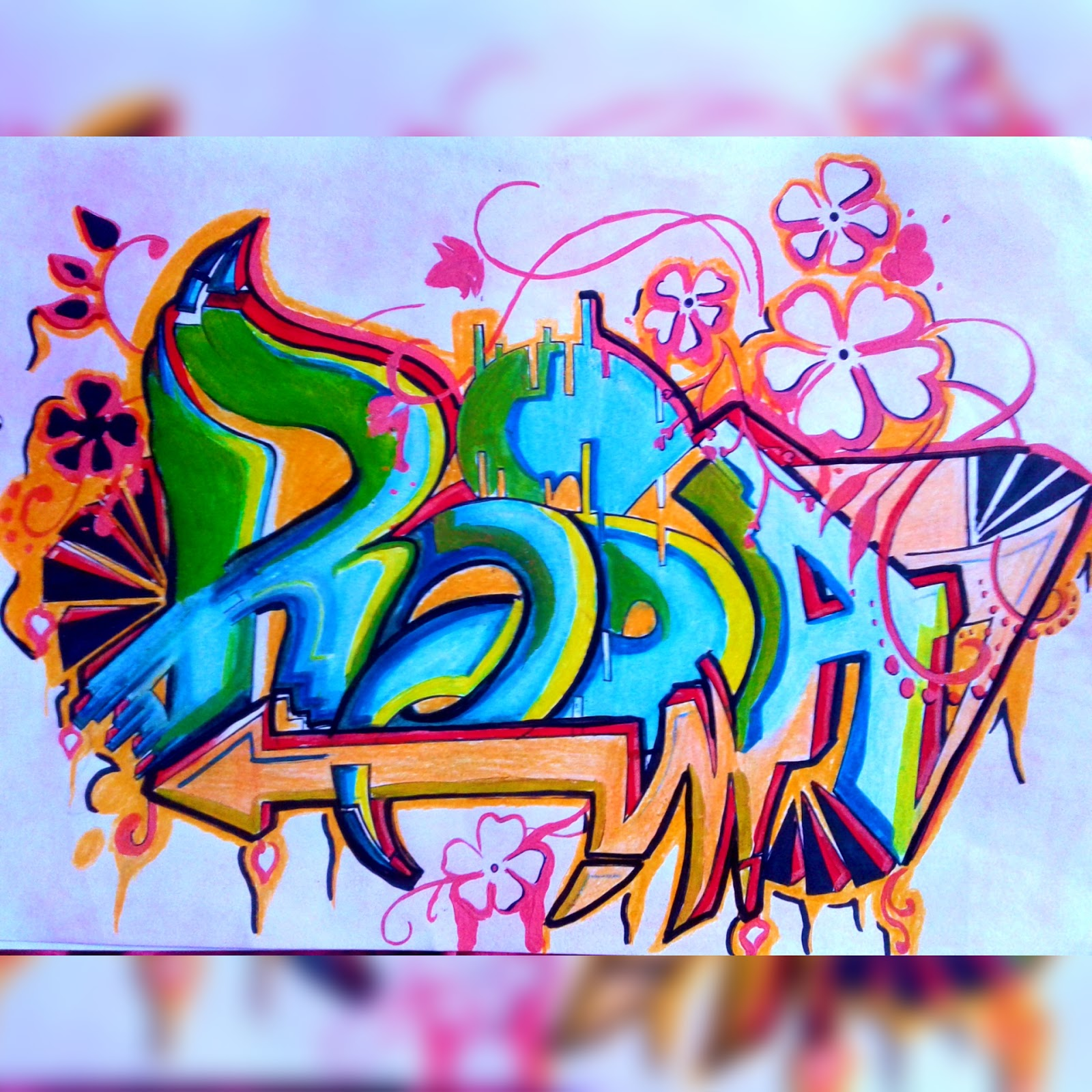 Graffiti graffitis nombre rosa