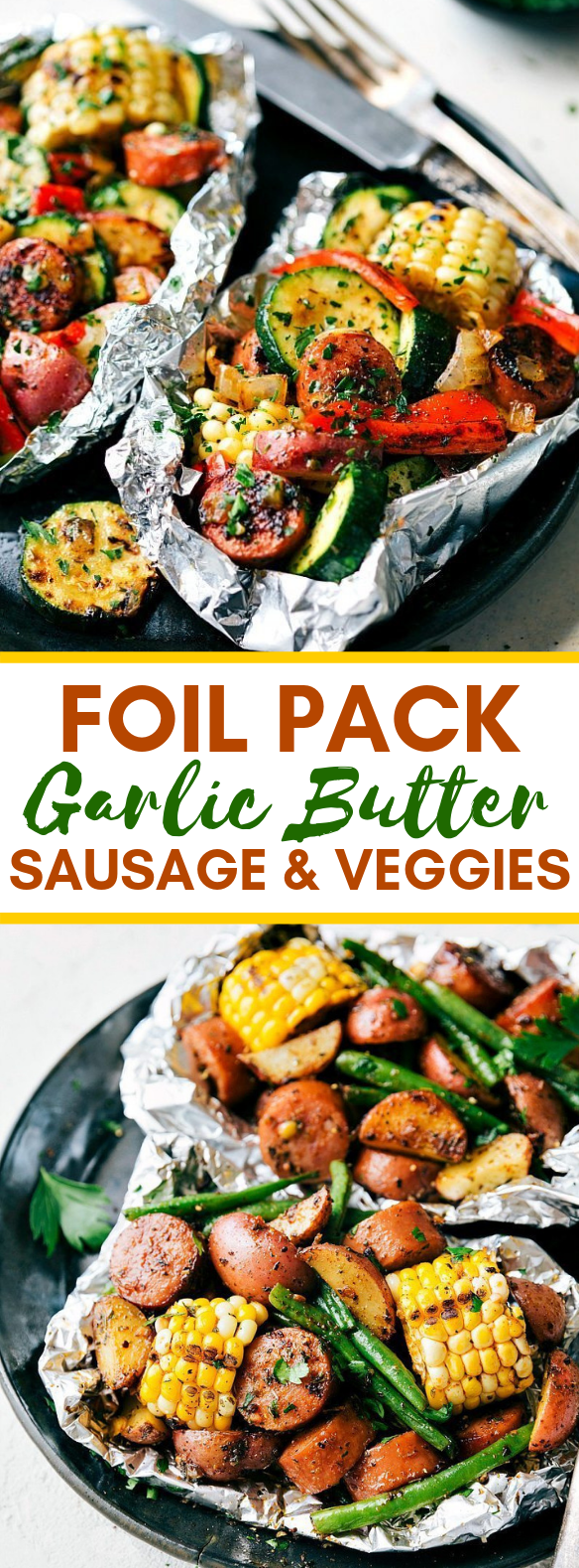 FOIL PACK GARLIC BUTTER SAUSAGE & VEGGIES #vegetarian #dinner