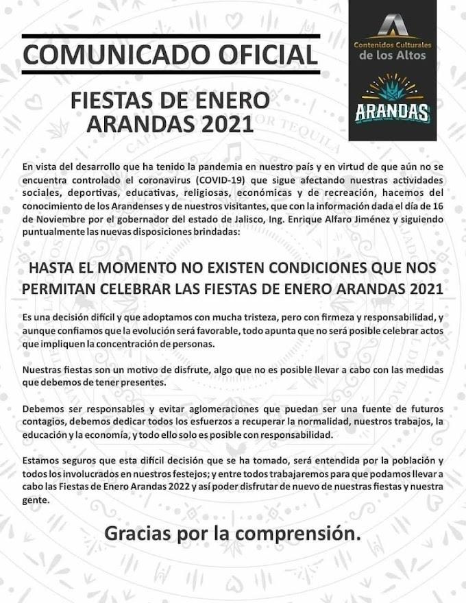 Fiestas de Enero Arandas 2021 CANCELADA