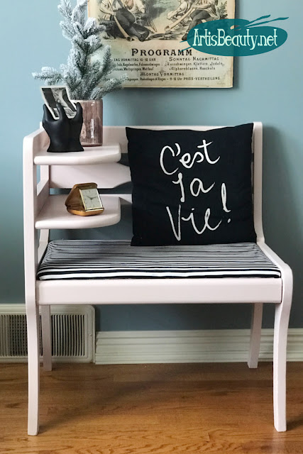 ballet pink gossip bench makeover with black and white striped fabric