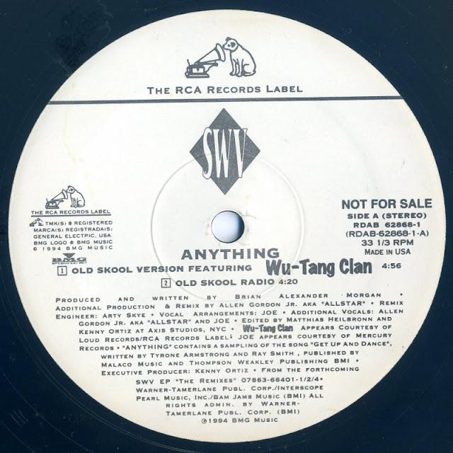 R&Bガールズトリオ「SWV」の楽曲、「ANYTHING」のレコードの写真です。