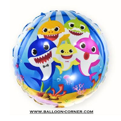 Balon Foil Bulat Baby Shark (NEW DESIGN)