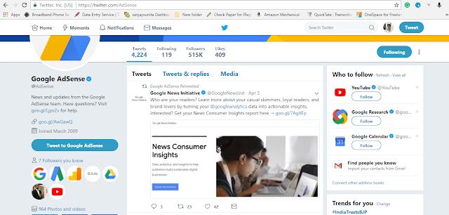 tweeter account of adsens