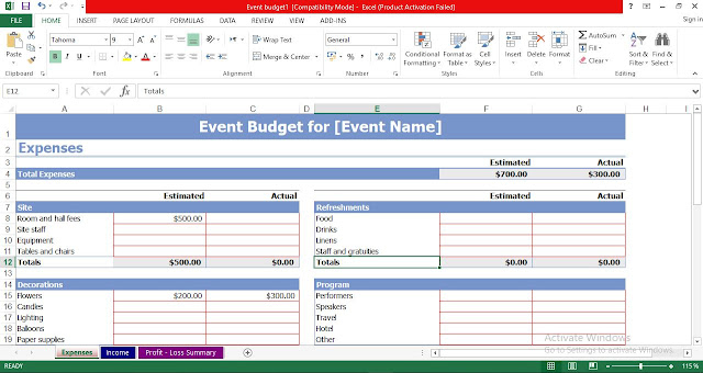 Event Budget Template Excel