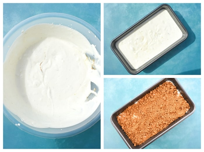 Vegan Biscoff Ice Cream - Step 3 - whisk, pour into loaf tin and top with biscoff crumble