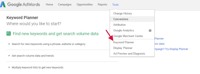 Step by Step Guide to find a keyword using keyword planner