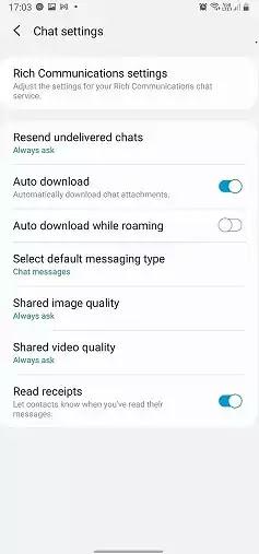 إعدادات دردشة Samsung Messages