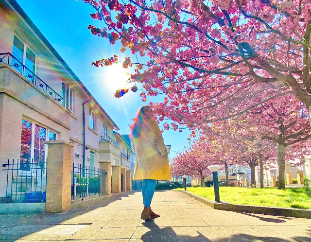 Plus size blogger The Owlet in Bristol with pink flowers