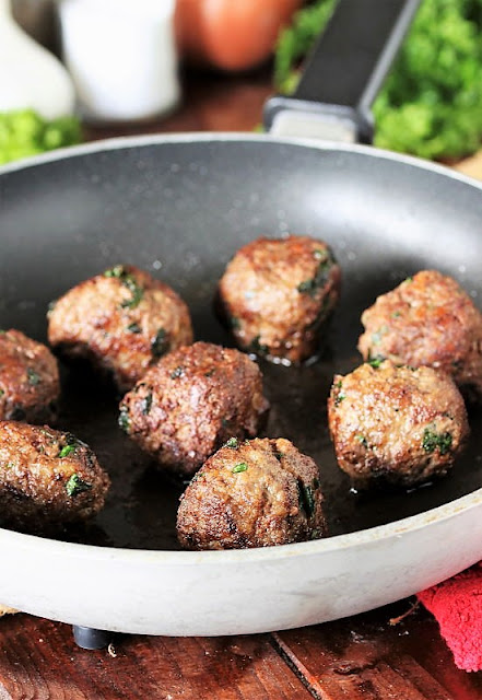 Browning Homemade Meatballs in Frying Pan Image