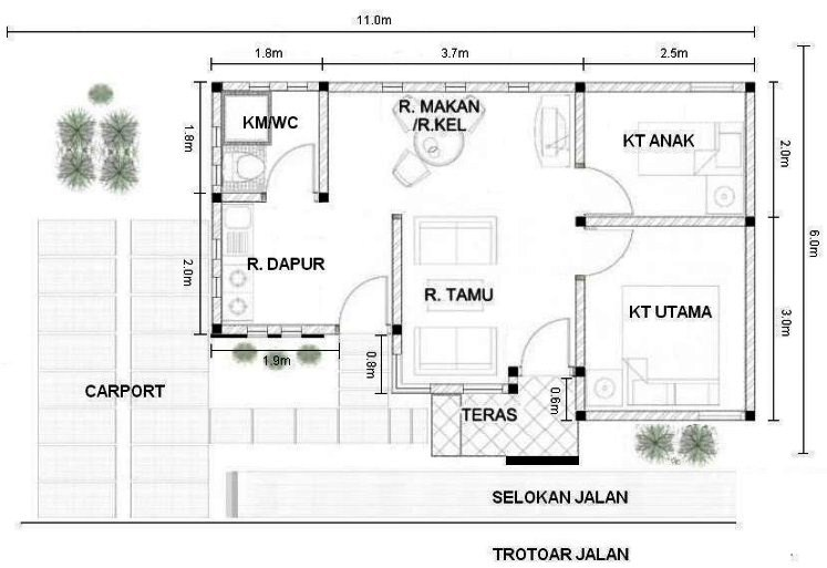 Gambar Denah Rumah Ukuran 6x8 1 Lantai Minimalis