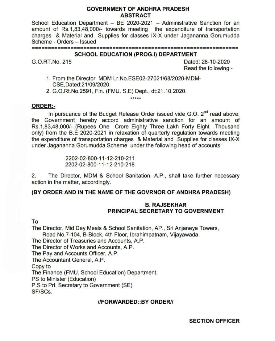 Administrative Sanction for an amount towards meeting the expenditure of transportation charges Material and Supplies for classes IX-X under Jagananna Gorumudda Scheme