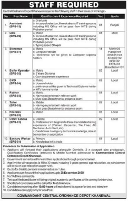 central-ordnance-depot-khanewal-jobs-2020-for-assistant-ldc