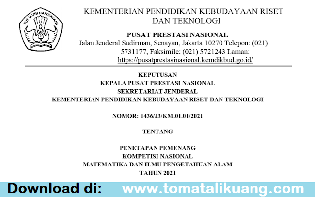 sk pemenang kn mipa pt tahun 2021 pdf pusat prestasi nasional tomatalikuang.com
