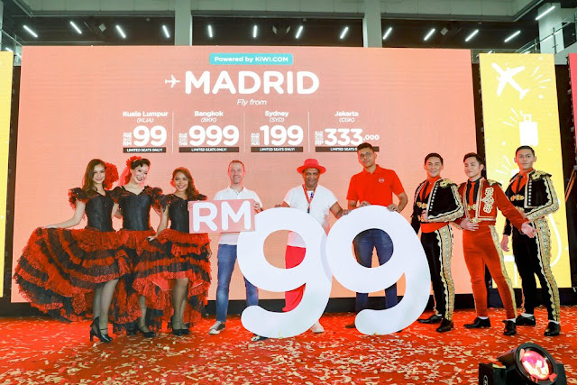 return ticket budget flight AirAsia to Madrid
