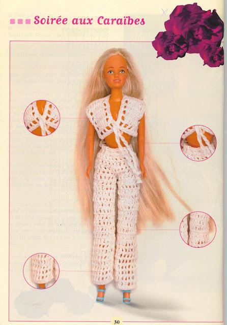 Gráfico de Calças compridas de crochê para Barbie - Créations Crochet Poupée Élegantes