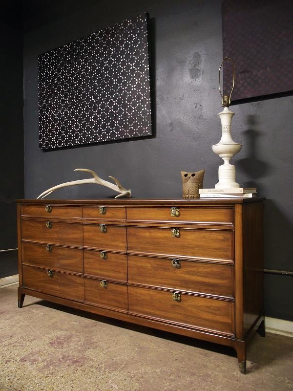 Vintage Ground Fantastic Mid Century 12 Drawer Dresser  Buffet