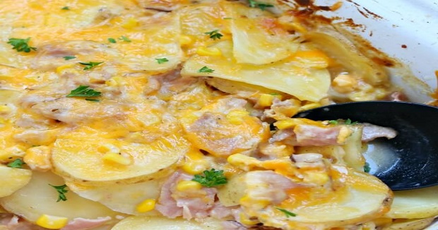 Slow Cooker Cheesy Scalloped Potatoes With Ham And Corn Recipe