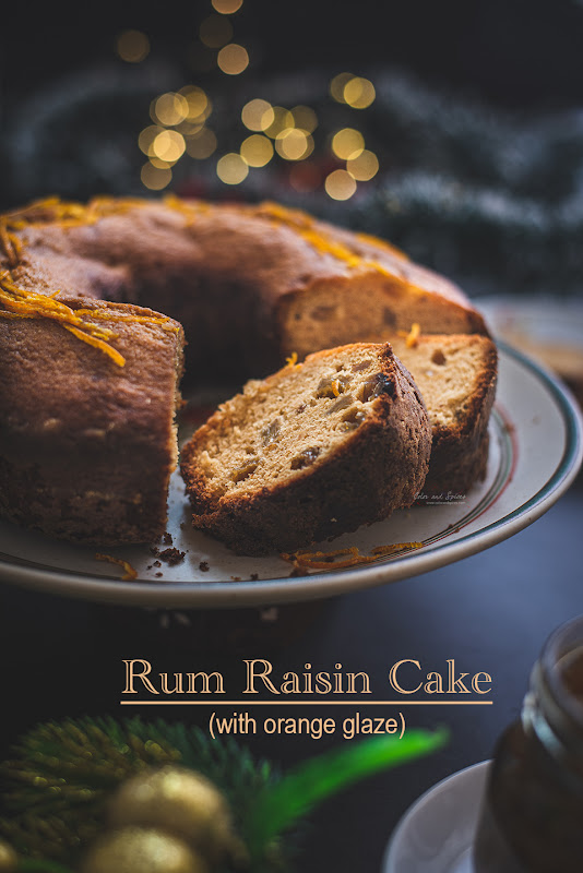 Rum raisin cake with orange glaze, photo, recipe