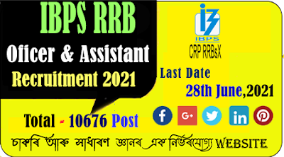 IBPS RRB 2021 Recruitment for 10676 Post of Officer and Assistant