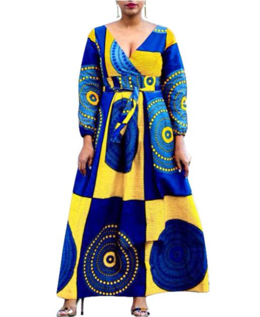 VERWIN African Print Ankara Long Gown Design
