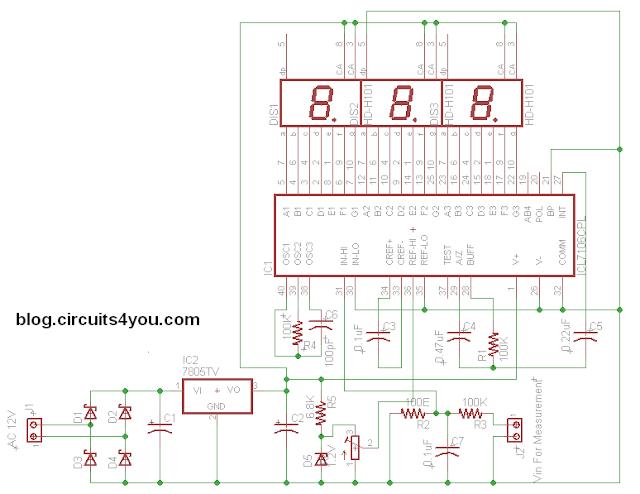 ICL7107 DC Voltmeter Circuit