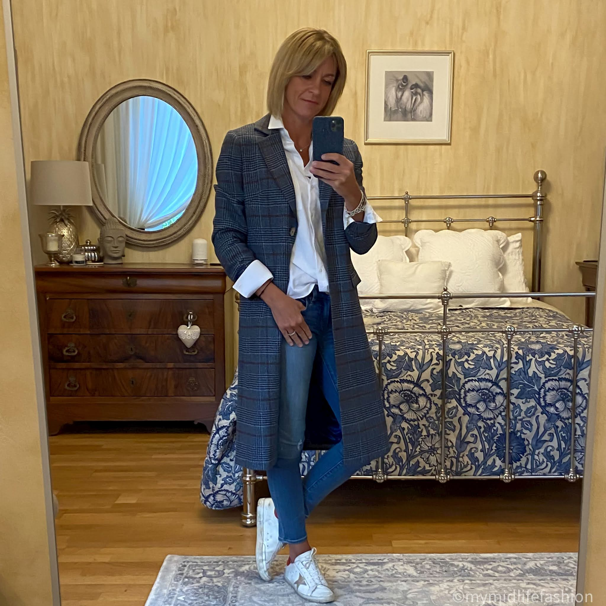 my midlife fashion, Baukjen heather organic shirt, Baukjen Agnes Coat, golden goose superstar low top leather trainers, j crew 8 inch toothpick skinny jeans