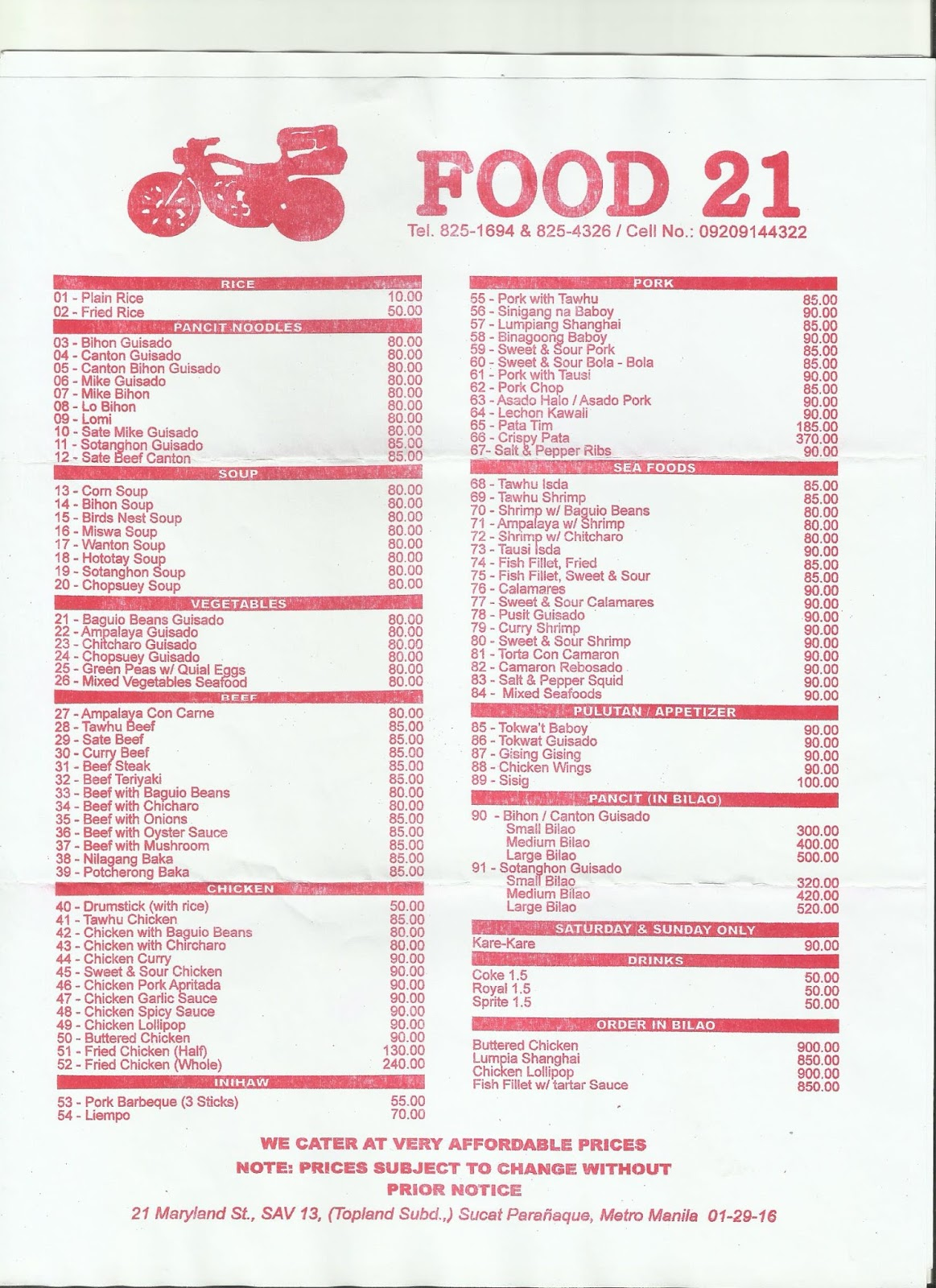 Food 21 updated menu - Cuisine 21 douai ...