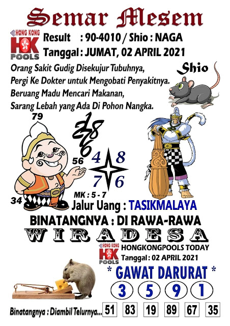 Syair Semar Mesem HK Jumat 02 April 2021